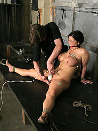 Massive tits Claire Dames bound and cumming! : This week I experimented with doing a non stop session with Claire Dames. We usually take breaks between sets, but not this week. The only time we stopped was to change tapes. You get to see the rigging, as well as the activities between the sets. I made sure to keep her in line the entire time with physical activities, and humiliation. She told us an interesting little story in the pre-interview, and I made sure to play that into the shoot. By the end of the shoot I had tested Claires limits and found that she was more than willing to let me push her beyond what she was used to. She gave 110 and I took 120 away from her...