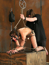 Extreme enema bondage! : Rebeccas new to the game but, we knew she had potential. Her lithe little body seemed ripe for punishment and The Pope was ready to dish it out. What we discovered was that little Ms. Blue did indeed show plenty of promise. In the ultimate state of submission, Rebecca demonstrated a keen ability to take magic wands deep in her pussy giving way to volcanic orgasms. The Pope left no hole untouched as it all culminates with Rebecca bound tightly atop the cube receiving an enema...