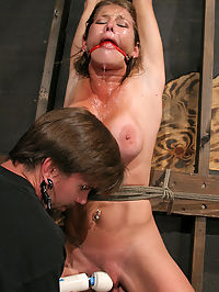 Squirting bondage orgasms! : Felonys a pain slut and her pussy was already sopping wet before the shoot began. Once free of her clothes, sexy Felony finds herself purely at the mercy of her Master as The Pope reaches deep into his bag of tricks. The result is one highly intense pain session as Felony is pushed far beyond her orgasmic edge. Tight in her binds in a variety of ties and suspensions, Felony receives special attention from all the shop toys and puts on an extreme squirting display that can only be described as volcanic...
