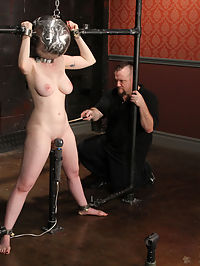 Big tit Sybil Hawthorne clamped and cumming! : As Sybils session continues, one must seriously doubt that she had any ideas about what was to come next...Bane however, certainly had a plan up his proverbial sleeve...Deprived of sight, Sybil finds her head in the Globe, her hands shackled high, her legs spread with a vibe purring between them...As her massive tits are clamped, she begs to cum... and cum she does. This however would only be the beginning and 65533The heavier things get for poor Sybil, the more aroused she becomes and this in turn fuels her orgasmic senses into overdrive...Drained, spent and reddened, Sybils journey is still not quite over. Strapped into the throne, she once again finds herself at Banes mercy as he leads her towards the promised land...