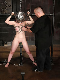 Big tit Sybil Hawthorne clamped and cumming! : As Sybils session continues, one must seriously doubt that she had any ideas about what was to come next...Bane however, certainly had a plan up his proverbial sleeve...Deprived of sight, Sybil finds her head in the Globe, her hands shackled high, her legs spread with a vibe purring between them...As her massive tits are clamped, she begs to cum... and cum she does. This however would only be the beginning and 65533 and 65533 and 65533 and 65533The heavier things get for poor Sybil, the more aroused she becomes and this in turn fuels her orgasmic senses into overdrive...Drained, spent and reddened, Sybils journey is still not quite over. Strapped into the throne, she once again finds herself at Banes mercy as he leads her towards the promised land...