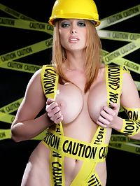 Caution Hot Construction Worker Showing Off Big Boobs