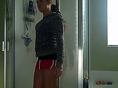 Nextdoor wife fucking a big dildo under the shower