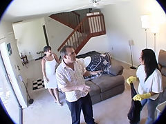 Guy leaves Nanny Cam on and bust his wife fucking the maid