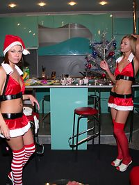 A christmas party gone wild as these two hot girlfriends get drunk and naked dressed as naughty santa!