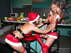 Lesbian girlfriends made this hot home made sextape after getting drunk on christmas!