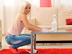 Slender blonde babysitter gets horny while cleaning house
