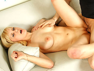 Busty Sofia masturbates her soft shaved pussy and then goes hardcore with a studs hard cock.