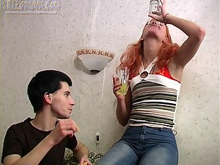 Valeria and Max pour a drink and toast and thats just the beginning as more and more liquor is sucked down. At some point his pants come off and she seems unfazed. That makes sense when her pants come off a few minutes later and they start fooling around. She must have been horny because almost as soon as her panties are gone he bends her over on the couch and fucks her drunk pussy from behind. The lusty slut loves cock and even more she loves doggy style. After theyre done fucking he passes out on top of her and they sleep