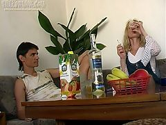 Nik wants to fuck his amateur girlfriend Milana and he knows that if he gets her drunk theres a much better chance of that happening. Plus, shes not always willing to let him bang her doggy style but if shes loaded he has no doubt shell bend over and let him inside her wet pussy from behind. She chugs down a bunch of wine and then hops on the coffee table and starts stripping. She looks amazing in her nylons and the little thong makes her ass look really fucking hot. Theres a hot blowjob that gets him hard and then he finally gets to fuck her doggy style