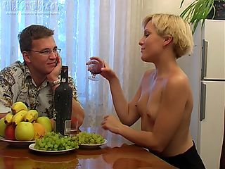 Irina and Boris are sharing drinks and conversation at the dining room table and hes secretly hoping to get her drunk enough to fuck. After a few drinks shes eating a banana out of his hands so it might not take as long as he thought. A few more glasses of wine go down and she takes off her top and flashes her tits at Boris and the camera. What hes really looking for is a blowjob and after a few more drinks he stands up, undoes his pants and pulls out his pud. Just like she did with the banana she takes it in her mouth and sucks. Theres no biting this time, just pure pleasure. Boris then fucks her pussy all over the house and in several positions