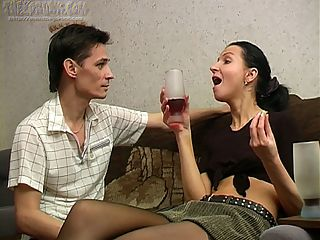 Nik is horny and hes making sure that Candy drinks lots of wine so he can fuck her. He knows that once she gets loaded hell be able to bone her amateur pussy. Shes wearing sexy stockings and his first move is to rub his hands up and down them, feeling the soft material and arousing him. At first shes not quite in the mood for sex but after a few more drinks shes happy to kiss him and suck on his hard cock. The beautiful young amateur gives great head and her pussy is licked thoroughly before Nik slips his cock inside and they have drunk sex