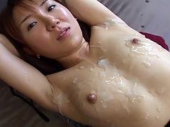 Extreme Milky Cat Bukkake Videos Cum Covered Asians : Miku gets messy cum facials throughout this movie.