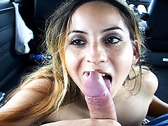 Remastered Monicas Triple D Goodness : Monica was the first chick we ever picked up in the Bang Bus and we havent looked back ever since! We are now remastering all the classic Bang Bros videos and I take great pleasure in bringing this one back out cuz its an original. Monica was just waiting for the bus in the rain when the guys came driving by. What option did the poor girl have but to board a miscellaneous van full of funny dudes cracking jokes and offering cash to answer a few questions for a college project? Add an offer to take her where she needs to go and desperate times call for desparate blow jobs on strange guys for the right price. Monica likes to be kissed on her neck. Its her weak spot and our weak spot is hot chicks in dire straights. Bang Bus lives!!!