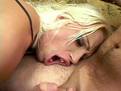 Ass Fucked Hot Blonde : Nicki Hunters huge tits were popping out of her red corset and were just a pleasure to fondle. This hot blonde loves sex in the extreme and so we made sure that she got two huge cocks to fuck. She gets a huge one in her ass while anothers stirring her pussy.