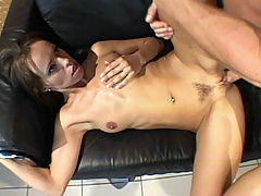 Behind Banged Babe : Kathy is one slim babe but her anal fucking appetite is definitely not. She loves hardcore ass fucking and this time, this sexy hottie is ready for some hardcore butt plugging. Shes spread out on the sofa and riding a huge cock before finally getting fucked hard from behind.