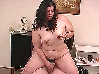 Cock Stroking BBW Candy : We love having Candy around. This plump babe is not even shy and she loves her body enough to strip naked in front of all of us. She then fills her pussy with a hard dick and we love seeing her bounce up and down and with her belly jiggling around.