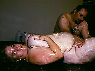 Hot BBW Messy Sex : Massive bbw Solsa comes in all greased up and ready for sex. She gets joined by a horny guy with a big dick and starts ravishing her big fat tits. The guy went deeper and went between her big fat thighs to examine her enormous snatch and cram her hole with his cock.