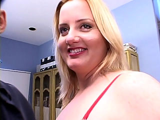 Solsa Hot BBW Tease : Check out this hot scene with the hot blonde bbw, Solsa doing it with two horny guys eager to have a taste of what she has to offer. Watch her take off her sexy red lingerie and make her huge natural tits and big plump ass pop out and make her toy boys fuck her pussy.