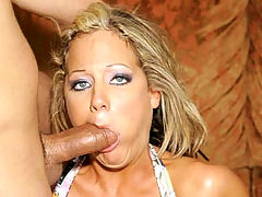 Big Tit Sophia Stuffed : Sophia is a beautiful blonde who loves to fuck. Her huge tits and tanned body make her perfect for a sexy striptease. After taking off her clothes, shes ready to suck off a huge dick and finally have her tight shaved pussy drilled.