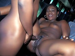 Black Snatch Pounding : Menage Trois and her horny stud get on another wild pounding session. This time shes seated on a bus chair and spreads her creamy thighs wide to get her black slutty pussy screwed by a large cock. Watch her stud spray his cum all over her shaved black cunt.