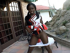 Ebony Cheerleader Pussy Tease : After the game ebony cheerleader Lucinda went straight home and called up her Latino lover. Not long after that, the guy came knocking at her bedroom door. She let him in and reached for his cock and began slurping it thoroughly with her moist lips.