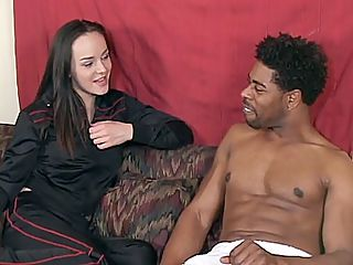 Poppy Seducing a Black Hunk : Its Poppy Morgans first time to go black and this guy wont make it easy for her. The clip starts with Poppy hooking up with this black hottie and started off by giving the guy a head. The guy began examining her wet snatch while Poppy guzzled down his black shaft.