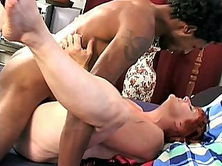 Behind Banging GILF : Hannys dildo was as red as her dyed hair and it really was a pleaure to watch this hot grandma pump her pussy full with it. But it seems like a dildo wont be enough to satisfy this granny so we hooked her up with a hot black stud to stuff her pussy full from behind.