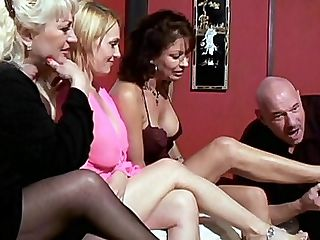 Hot Four Grannies : Things are bound to get real hot when you gather for hot grandmas together like Raquel, Vanessa Videl, Wanda Lust and Dane Hayes. These hot four grannies are up to their dirty tricks and they are bringing out grampa to try out their strap on toys on him.