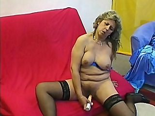 Hot Granny Dorothy : Hot granny Dorothy looked real sexy in her sheer black stockings. It seems like this grandma was eager to get it on and so she sucked her lovers dick right away before getting on top of him so she could ride him hard and make him blow his load on her muff.
