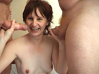 Hot Granny Threesome : Granny Goodnite loves taking walks but what she loves most about it is getting picked up by horny strangers. She meets up with two mature men who then take her home and start fondling her huge granny tits. They fuck her hard and rough and end with a good cum facial.