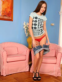 Mika - Slender beauty strips and dildos