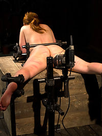 Red Hair Fair Skin - finger fucked, machine fucked, extreme nipple play, hot wax, hard caning. : Marie McCray ventures back for your delight. Her fair skin marks easily and her puffy nipples get the treatment they deserve. She is bound on the ground with metal restraints and chained to the floor. Her neck is connected to her arms in strapado. Her nipples are tied off. Any movement she makes is bound to create a tormenting result. She is fucked and vibed until it is too much.The blindfolded redheaded slut is frogtied and spread open. She is finger fucked until she is wet before a dick and vibe is shoved into her and bolted in place. Her nipples are tied off and stretched out with weights. Her puffy nipples are pulled exposing more surface to drench with hot wax adding to the nipple torment.Her throbbing pussy is stuffed with the fucking machine. She is fastened onto a box with legs spread open. An ass hook is planted in her tight little ass and tied to a bit gag, keeping her head up and body stressed. She takes a fucking she has never experienced before. Alpha and Omega have that effect on our bondage whores.