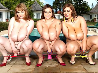 Boobs n Bikinis : Great Balls of Fire! In Part 3 of The SCORE Group DVD feature film Montego Babes, Gya Roberts, Terri Jane and Micky Bells start off the proceedings by talking about bikinis. Gya is wearing a yellow string bikini, Terri Jane a pink one and Micky a red one. One look at their luscious bods in bikinis and you will be blown away. At poolside, these adorable delights discuss the trials and tribulations in their pursuit of the perfect bikinis. The three cleavage champions agree that its not easy to find a swimsuit that fits and looks hot on their thunder bods. They agree on several common points. They like flashy colors like pink. They like the skimpiest bikinis. They have a difficult time shopping. And nipple erection in public generates a lot of attention on beaches. Gya contributes a bottle of oil to the group meeting and the girls proceed to liberally douse their incredible bodies with the slick stuff until the pool deck looks like a tanker ship ran aground. What the girls do next as their bodies glisten in the Jamaican sun will result in continuous play of this chapter of Montego Babes Boobs n Bikinis!