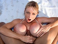 Tits and Tugs With Morgan : Just like Crystal Gunns and Cindy Cupps before her, Morgan Leigh said she would do an on-camera tit-fuck and hand job once and only once. For the first and last time, Morgan hits the beach until she gets to where the ultra-lucky recipient of a happy ending is hanging out. Her star spangled banner bikini will get most American SCORELAND members waving their flags. Morgan, a Brit, could have worn a Union JACK bikini, emphasis on the JACK, but her bikini top is gonna drop anyway so she can stroke his cock to a pop. If Morgan sauntered over to you and offered you a hand party, would you decline? No farkin way, tit-man! The fun is in getting there and enjoying the jug-hug before the gusher cums. While driving the skin tanker through Morgans titty tunnel, her masterful cock-milking finally makes his ball brakes go out and his load of man-juice overturns, soaking her surrounding hills. Not surprising. A man would have to have iron balls to resist the handiwork of a babe as slim-n-stacked as the great Morgan Leigh. Like we mentioned, this is it so keep this scene in a safe place. She wont be doing it again. See the photos in Tits and Tugs.