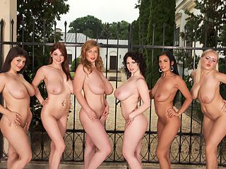 Hungarian Lineup : Respecting an old editorial tradition--always identifying models by name--the girls are, from left to right, Kristy Klenot Czech Republic, Christy Marks USA, Karina Hart Slovakia, Melissa Mandlikova Czech Republic and Jasmine Black Romania. But then, you know this. For a daytime lineup with Terry Nova added to the mix, check out the photo set in January 09 SCORE. This video is short but very sweet.