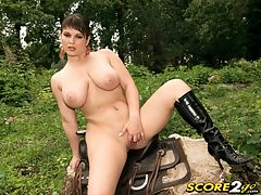 Saddle Up For Kristy Klenot synonyms of the : Short-n-stacked Kristy Klenot synonyms of the Czech Republic enjoys riding tall in the saddle. We last saw buxom Kristy on SCOREVideos jacking off Mr. Johnson in his Hooter Hotel room. Shes a nice, sweet girl with a fiery personality. During the making of this video, someone asked Kristy what happened to her horse and she smacked him one. Seems Kristy misinterpreted the word horse and thought he said whores. Here in the fresh air, in her own private forest, Kristy removes her equestrian riding costume, every stitch including the boots, and lets her fingers do the riding as she heads for cum-ville. She doesnt need the horse anyway. Besides, they dont come with air conditioning and FM radio.