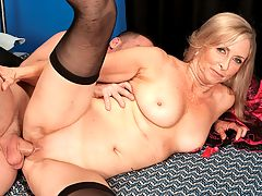 Get Ready For The Gaper! : If youre a fan of cock-hungry 55-year-olds with gaping pussies, youre gonna love this video. Because, in the final minutes, divorcee Connie McCoy spreads her just-fucked pussy to accept her studs squirting load. The more he squirts, the more her pussy gapes. She rubs his cum into her pussy, but not all of it. A lot of his cum drips down into her asshole. She spreads wider, completely uninhibited. And thats Connie Completely uninhibited.brbr Of course, we get gaping pussy before that, too, like when Connies sucking his dick and rubbing her pussy. Then she lays back and spreads her pussy for a deep fuck. Why does Connies cunt gape so much? Who knows? Who cares! It just does. And thats fine by us.