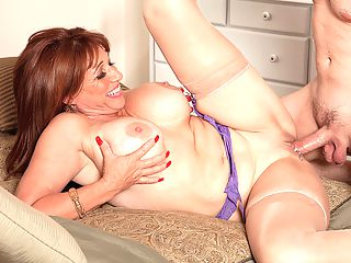You Can Always Get What You Want : In this scene, 52-year-old Sheri Fox leaves no doubt about what she wants.brbr I want you to fuck that ass, she says as she bends over and spreads it, teasing the stud whos been sent to fuck her. Have I got an ass for you!brbr From the start, Sheri is wearing a purple bra, stockings and a purple garter but absolutely no panties, so when she bends over, we can see the ass that this guy is about to fuck. But first, hes going to have his cock sucked all the way, as Sheri takes him right down to his balls and then hes going to fuck her nicely decorated pussy. When shes getting her pussy fucked, Sheri likes to look down and watch the cock going in and out of her.brbr But all this is merely a prelude. Sheri turns upside down, spreads wide and says, Cmon, fuck my ass. There it is. So the guy takes what hes given, and Sheri takes every inch of his dick in her needy asshole. This just might be our hottest scene ever.