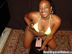 Ebony Teen Having Her First Ride On a Sybian : Fonda is an eighteen year old ebony teen. She is a bit nervous since she has never tried anything like this before. Fonda unties her bikini showing off her big round nipples and then drops her bottoms revealing her trimmed pussy. Fonda gets down on the sybian and Dirty D turns on the controls. Fonda quickly takes a likening to the sybian. Watch as the sybians intense vibrations and rotating shaft give Fonda a satisfying orgasm