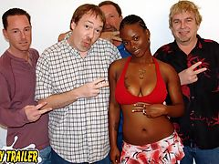 Ebony Girl Four Way Bukkake Party : Shanice is a quiet ebony girl but she is ready to show Dirty D and the website members that she is really wild bukkake slut. Dirty D and the crew strip Shanice naked exposing her big round tits and luscious ass. Dirty D gets Shanice down on her knees and all of the guys surround her with their cocks. Shanice sucks and strokes all of them. Dirty D moves the bukkake party to the bed so the guys can tag team Shanice. Dirty D shoots his cum load on Shanices face and in her mouth. The rest of the crew have their way with Shanice. Each guy gives her their hot cum loads leaving Shanice with a big cum coated smile on her face.