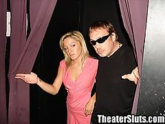 Sexy Petite Girl Having Cum Coated Group Sex in a Porn Theater : Ellie is a shy sexy petite girl that Dirty D is corrupting. She has never been into a porn theater before or been with more than one guy at a time. All that is about to change. Dirty D brings Ellie into the dark seedy theater and they grab a seat. Perverts start emerging from the dark corners jacking their cocks. Dirty D begins stripping Ellie as the crowd watches on. Ellie starts sucking Dirty Ds dick while he spreads her shaved pussy for all to see. Dirty D fucks Ellie while she sucks an anonymous cock from the crowd. Dirty D serves up Ellies pussy to two more horny perverts while he gets some more head. Watch as Ellie takes load after load of hot cum all over her body. Once she is coated with cum Dirty D finishes off by giving Ellie a creampie.