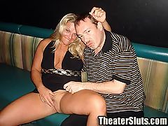 Birthday Slut Joyce Surrounded by Horny Perverts in a Porn Theater : Joyce is a wild MILF enjoying he sexual prime. Today is Joyces Birthday and she wants Dirty D to fill it with debauchery. Dirty D brings Joyce to the theater to have a public sex celebration. Once in the theater it does not take long for horny strangers to start groping Joyce tits. She is turned on as more hands explore her body while she sucks Dirty Ds cock. Dirty D turns Joyce around doggy and fucks her while she sucks on a row of hard cocks. Dirty D turns Joyce on her back and starts fucking her in the ass while she chokes down a big black cock. Joyce is takes load after load of hot cum all over her body. One horny pervert even cums on her foot. After Joyce satisfies all of the guys in the theater Dirty D gives Joyce an anal creampie as her birthday present.