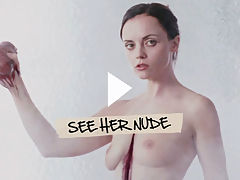 Christina Ricci : Christina Ricci reveals pointy nips and white panties laying on a lawn