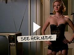 January Jones : January Jones displays her seductive cleavage in black bra and panties