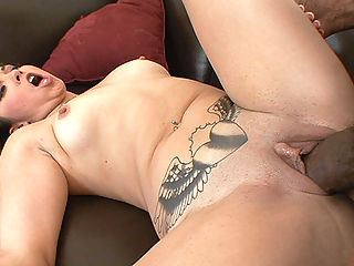 Tattooed Latina Madaline wet pussy getting wrecked with monster black cock