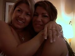 Two amateur lesbians kissing and foreplay