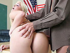 You Got My Vote : Blonde pigtailed girl rides her teachers dick