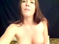 Lucky dildo : Horny amateir girl strips naked and dildo fucks her pussy