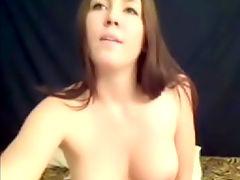 Lucky dildo : Horny amateir girl strips naked and dildo fucks her pussy